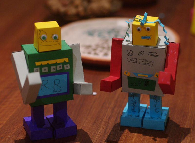 Robots made from construction paper