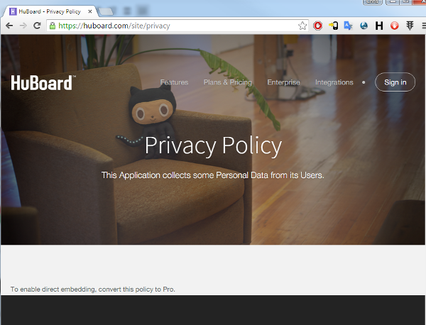 privacy policy from HuBoard missing