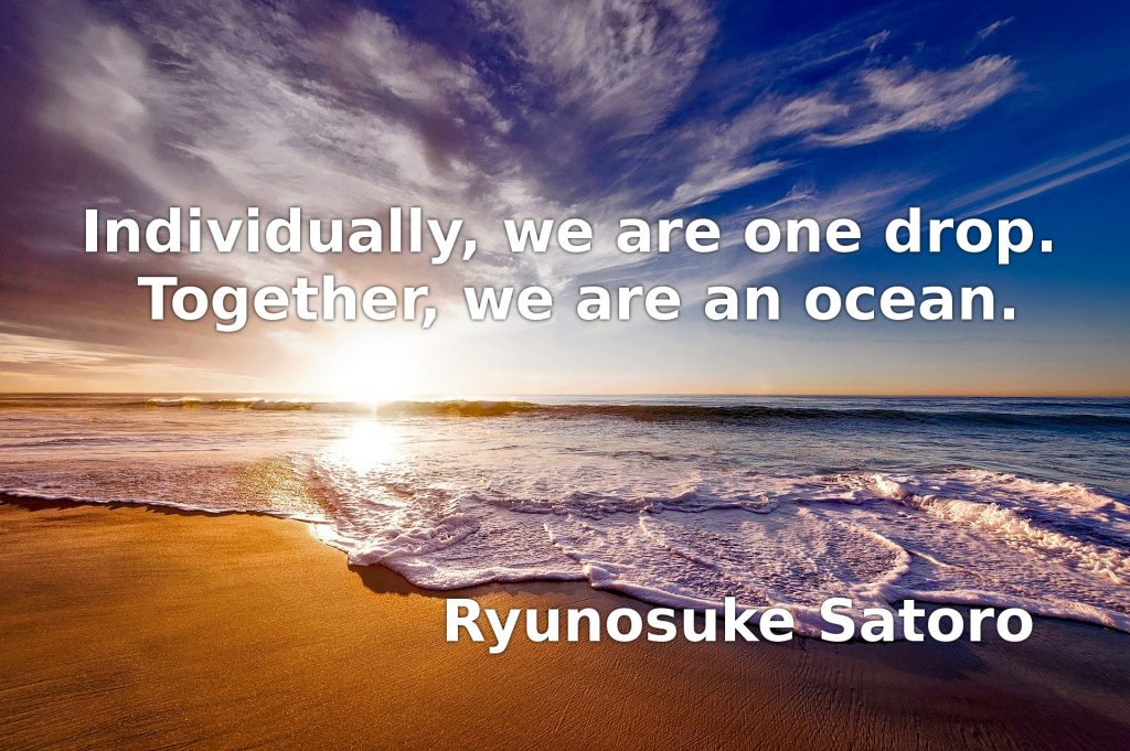 Individually, we are one drop. Together, we are an ocean.  Ryunosuke Satoro